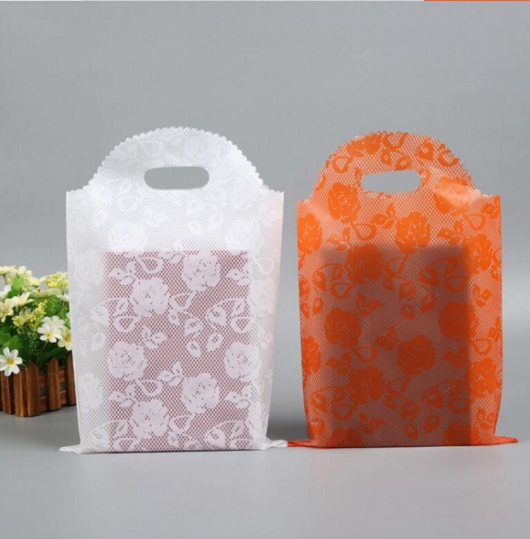 25*40cm 50pcs Large Plastic Gift Shopping Bag with Handles