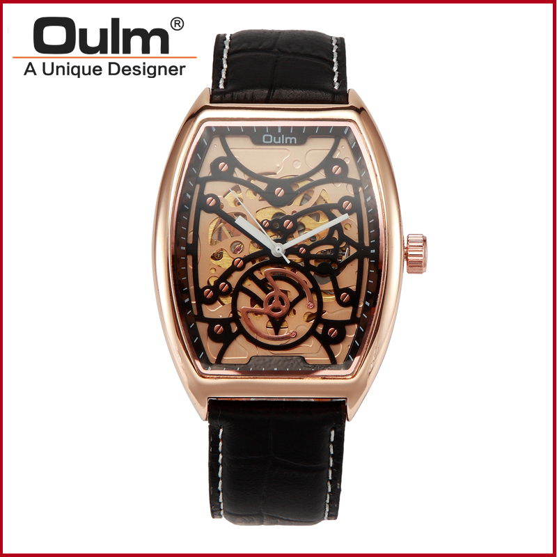 Fashion Men Brand OULM Mechanical Watches Leather Strap Wristwatch Gold Silver Watch Metal Case 2016 winner autoamtic mechanical men watches fashion classic silver case skeletondial real leather strap relogio feminino