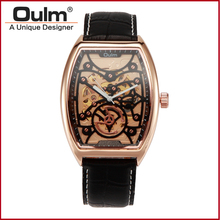 Fashion Men Brand OULM Mechanical Watches Leather Strap Wristwatch Gold Silver Watch Metal Case