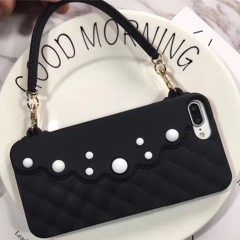 Ritozcase Fashion cute pearl Ladies style handbag chain soft silicone case  for iPhone 7 7plus 6 28fdda63d87d