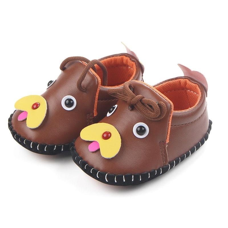Балаларға арналған бірінші балаларға арналған киім Балалар кроссовкасы Мультфильмдер Doggy PU Былғары лагерьдер Жаңа туған нәрестелерге арналған превиллер Toddler Rubber Sole Shoes
