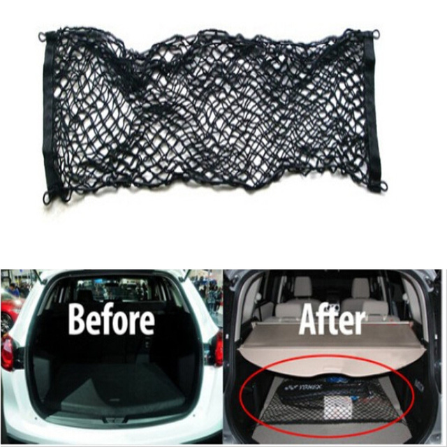 Minimalist Rear trunk net bag cargo net Rear Luggage Cargo Net Mesh Storage Holder 4 Hook black For Your House - Beautiful trunk luggage Trending