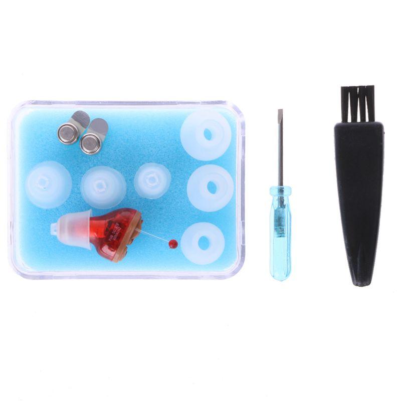 Amplificateur auditif Portable avec suppression de bruit numérique amplificateur sonore Invisible numérique outil de soin des oreilles rouge-droite/bleu-gauche nouveau