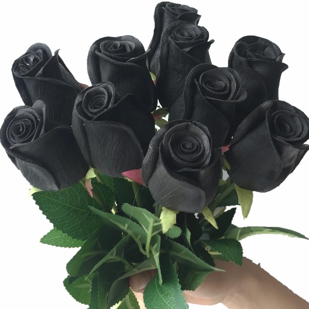 Trëndafila prekje me të vërtetë të kuqe të zezë rozë blu të kuqe të kuqe të bardhë të verdhë Purple PU Rose për dasmën Lule dekorative artificiale 14 Lule