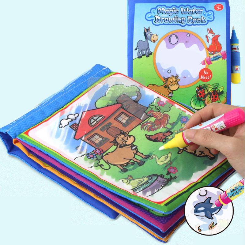 Wholesale 20pcs/lot 21*17cm Magic Water Drawing cloth Book for kids Learning and Educational toys with 2pcs of Magic Pens gifts-in Drawing Toys from Toys & Hobbies    1