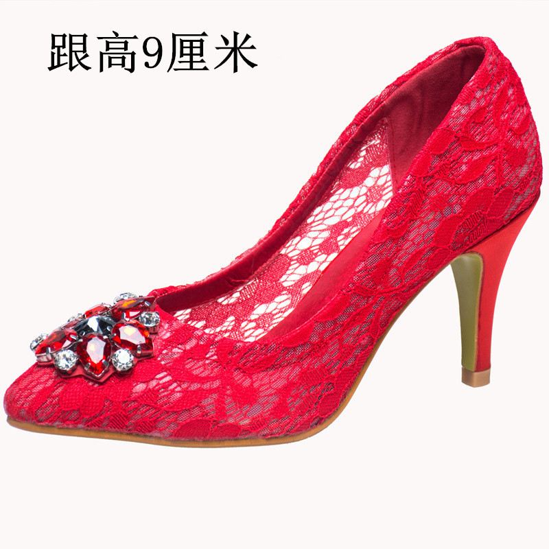 ФОТО Spring high thin heels bridal shoes wedding shoes single shoes female lace small 31 32 33 plus size 40 41 42 43