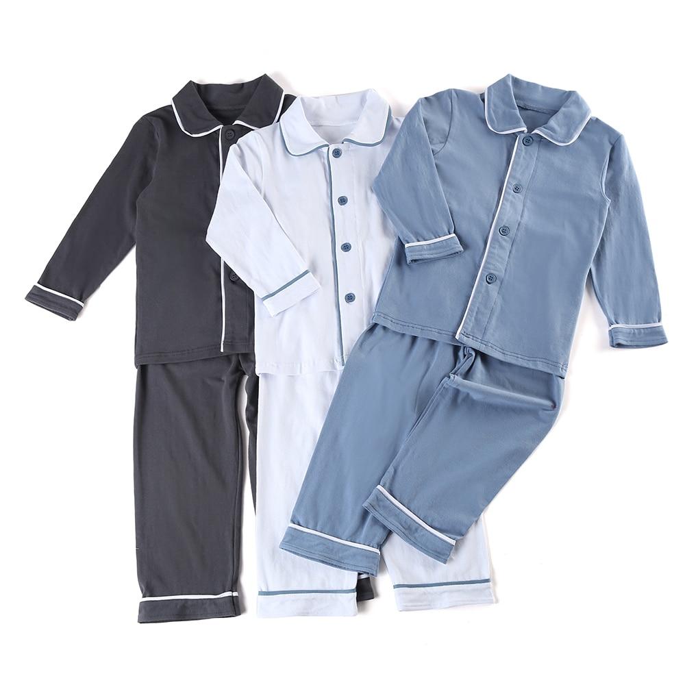100% Cotton Toddler Boys And Girls Sleepwear Family Matching Children Christmas Solid Color Ruffle Kids Pyjamas
