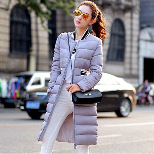 Mulheres casaco de inverno longo espessamento acolchoado casaco de inverno tamanho grande mulheres casacos de inverno fêmea magro parka branco / preto Q736