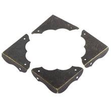 Металлический стол ретро Стиль углу Чехлы для мангала протектор 40 мм x 40 мм 4 шт. бронза