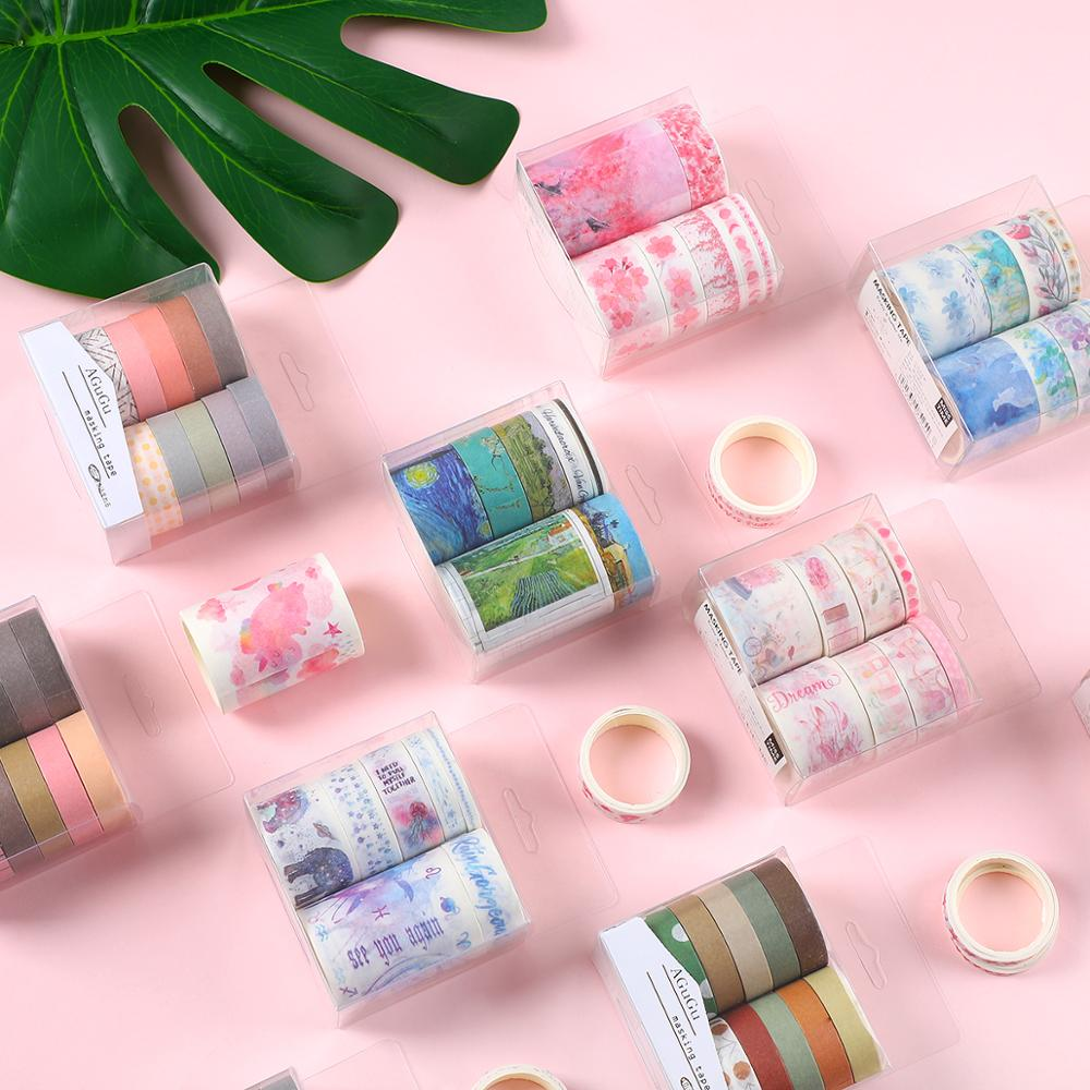 JIANWU 7pcs Or 10pcs/set Cute Basic Color Washi Tape Scrapbook DIY  Masking Tape School Stationery Store Bullet Journal Supplies