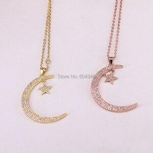 Image 2 - 10 Strands Zyunz Micro Pave CZ Sao và Crescent Moon Copper Charms Mặt Dây Dây Chuyền Trang Sức