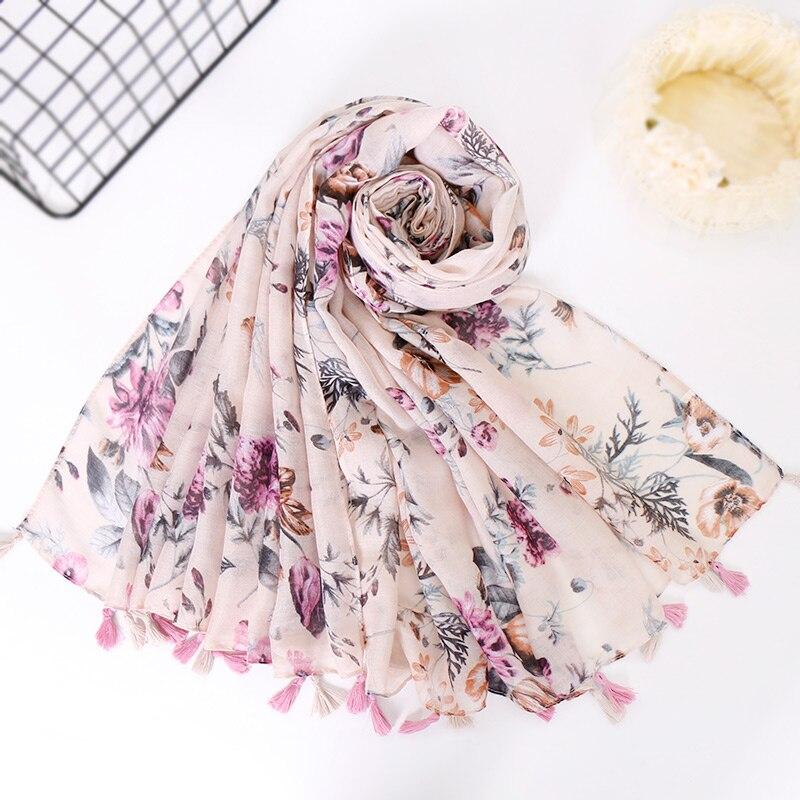 Tassels hijab   scarf   printe floral shawls muslim   scarves   viscose   wraps   fashion large Islamic headband long   scarves   10pcs/lot