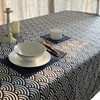 Japanese Style Cotton Blue Waves Pattern Table Cloth Flat Easy Care Cloth Table Cover In Classical