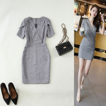 Ladies dress new spring and summer fashion OL temperament commute solid color breathable Slim V-neck gray bag hip thin