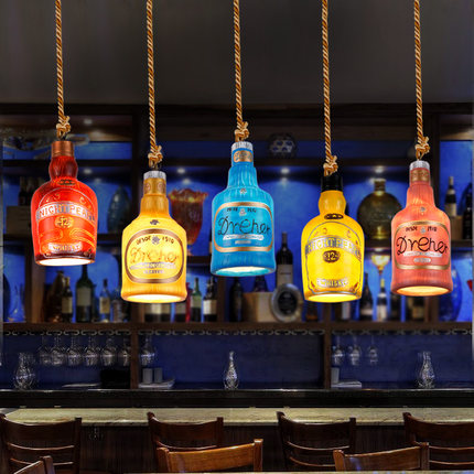 Creative personality retro American country casual restaurant bar cafe restaurant bar wine bottle chandelier with free shipping creative chandelier cafe bar bar restaurant lounge ktv single headed personality retro bottle decorative lamps