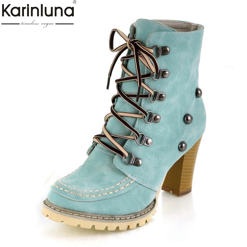 KarinLuna 2018 Plus Size 34-43 Chunky High Heels Ankle Boots Women Shoes Woman Lace Up Solid Hot Sale Woman Boots Female