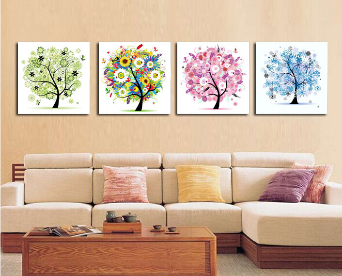 Free Shipping 4 Panels Home Decoration Abstract Art Wall