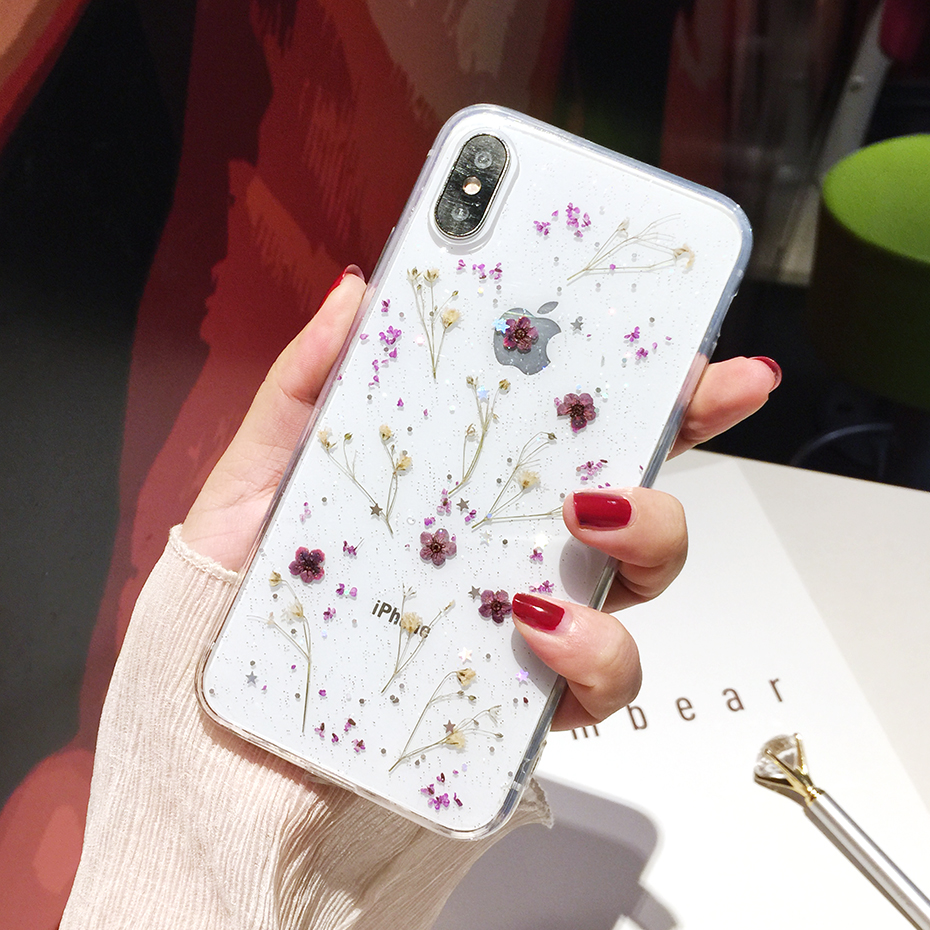 , Qianliyao Real Flowers Dried Flowers Transparent Soft TPU Cover For iPhone X 6 6S 7 8 plus Phone Case For iphone XR XS Max Cover