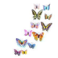12pcs PVC 3d diy Butterfly Luminous glow in dark Design Decal Magnetic magnet sticking double feather wall  stickes home Decor