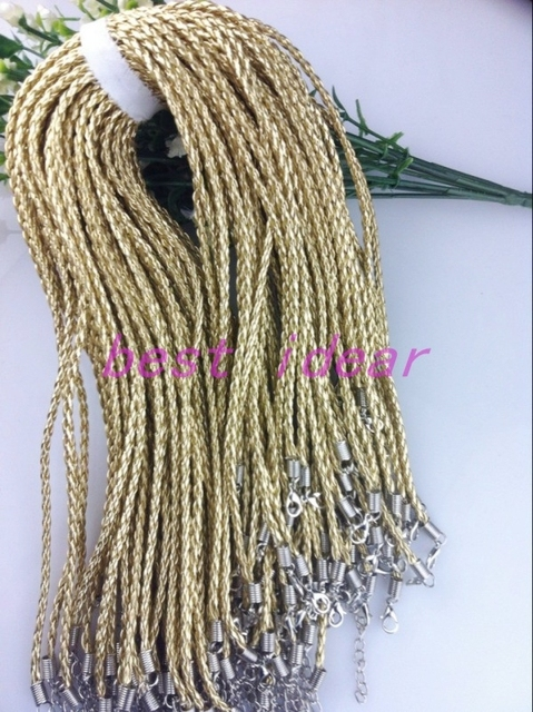 18inch 100pcs Gold 3mm Leather necklace cord for DIY craft Jewelry Free Shipping