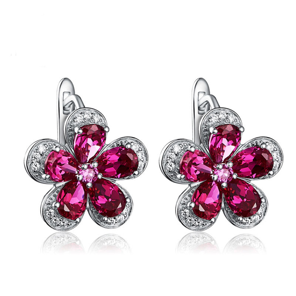 HTB1350WXGSs3KVjSZPiq6AsiVXau PANSYSEN Luxury Flower Design Ruby Gemstone Clip Earrings for Women Solid 925 Sterling Silver Jewelry Wedding Christmas Gifts