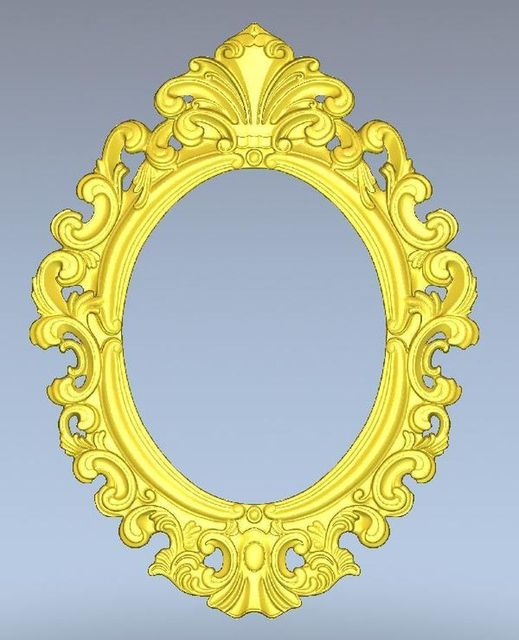 3d Model Oval Frame Relief For Cnc Machine In STL File Format Simple Border