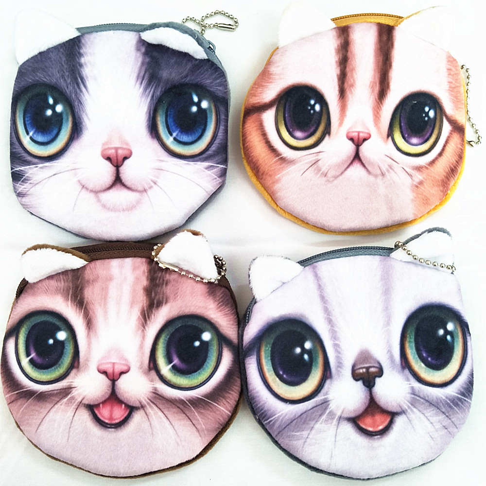 M040 Cute Coin Purse Cartoon Creative A Variety Of Expressions Big Eyes Flicker Pupil Cat 3D High Definition Printing Card Bag a cat a hat and a piece of string