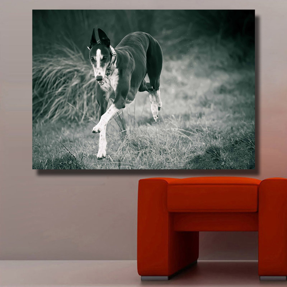 HDARTISAN Wall Art Black And White Greyhound Running Animal oil painting on Canvas wall painting picture for Living Room No fram