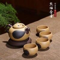Фиолетовый глины панда Чай горшок чашка установить Исин ручной Китайский кунг фу Чай комплект память лимитированная коллекция Подарки, Бес