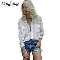 בתוספת גודל רופפת החבר Blusinhas 2018 קצר שרוול ארוך כיסי כפתור הלבן עד שיפון feminina camisa חולצות נשים C608