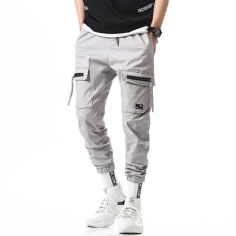 2019 Mens Hip Hop Harem Pants Male Zipper Decoration Trousers Men Joggers Pants Sweatpants Cargo Pants Streetwear Pants Men 36