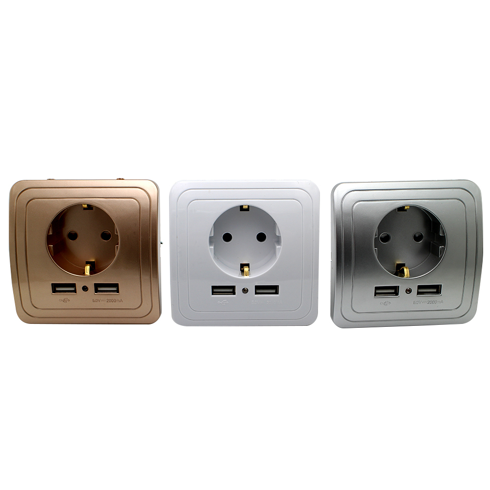 3 Colors Smart Home Best Dual USB Port 2000mA Wall Charger Adapter 16A EU Standard Electrical Plug Socket Power Outlet Panel