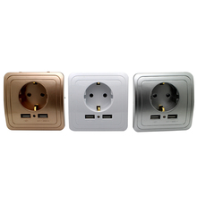3 colors Smart Home Best Dual USB Port 2000mA Wall Charger Adapter 16A EU Standard Electrical Plug Socket Power Outlet Panel eu plug pop socket retractable table sockets portable electrical 3 plug 2 usb charger outlet 220 v 16a charger outlet