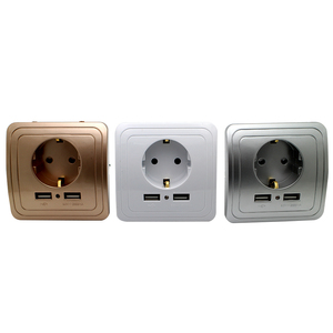 3 colors Smart Home Best Dual USB Port 2000mA Wall Charger Adapter 16A EU Standard Electrical Plug Socket Power Outlet Panel(China)