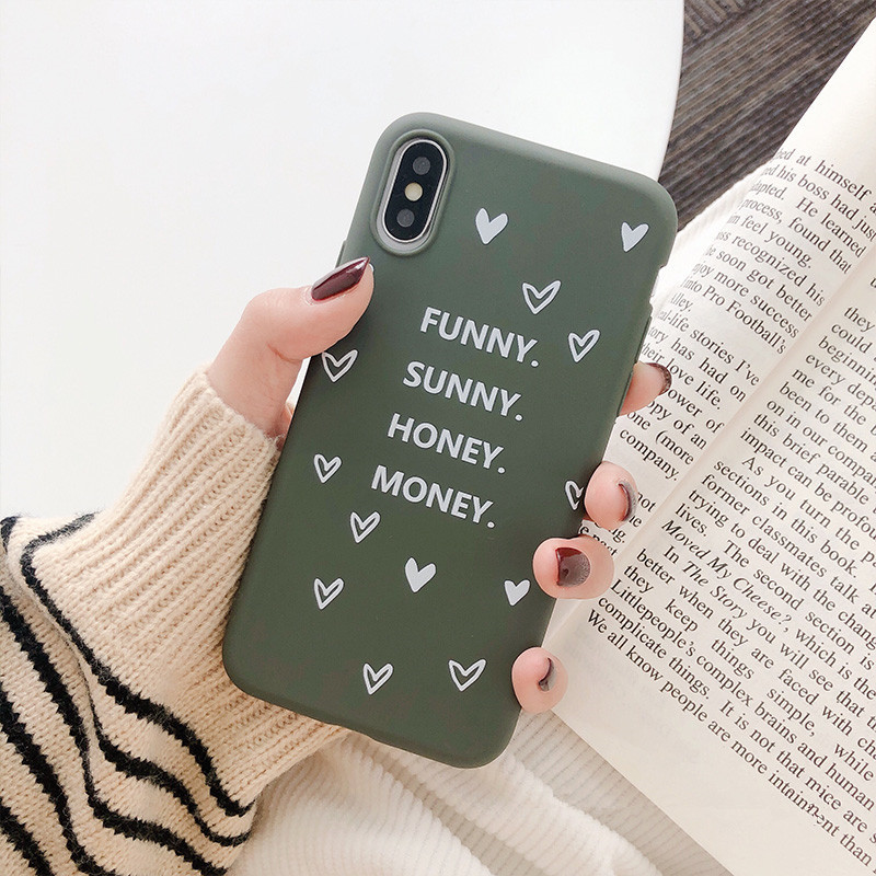 Korean simplicity Cute letter Phone Cases For iphone X XS Max XR <font><b>6</b></font> 6s 7 8 Plus Case <font><b>bts</b></font> Kawaii green TPU Cover Capa Coque Fundas image