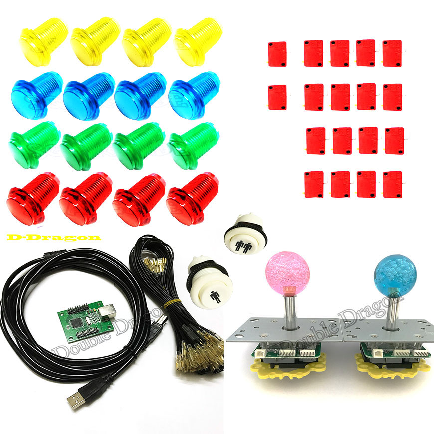 Arcade mame DIY KIT PC/PS3 2 players USB to jamma BLUE/RED illuminated joystick 32mm push button with microswitch 1P 2P button