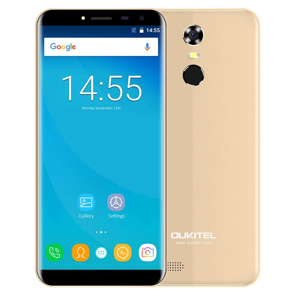 OUKITEL C8 3G smartphone 5.5 pouces 2.5D Arc Écran Android 7.0 MTK6580A 1.3 GHz Quad Core 2 GB 16 GB D'empreintes Digitales 8.0MP caméra arrière