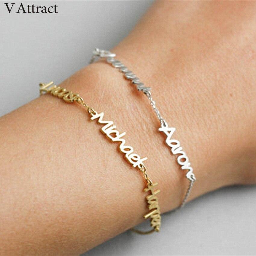 V Gewinnen Hand Link Nach Name Armbänder Für Frauen Personalisierte Schmuck Gold Silber Kette Drei Namen Pulseira Femini Moda Geschenk