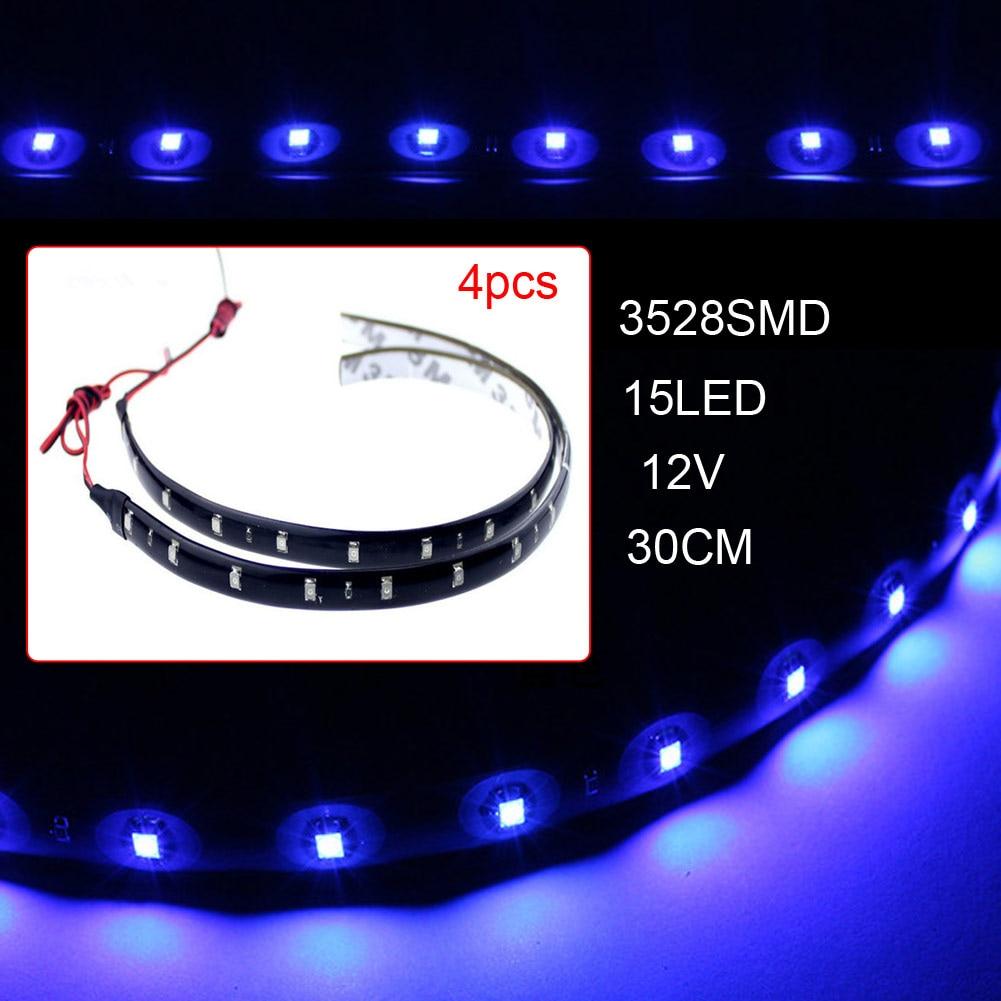 4pcs12V 30cm 15LED 3528 SMD Waterproof Car Auto led Flexible Strip Lights For Car Auto Bike Motorcycle Truck Decoration Lighting
