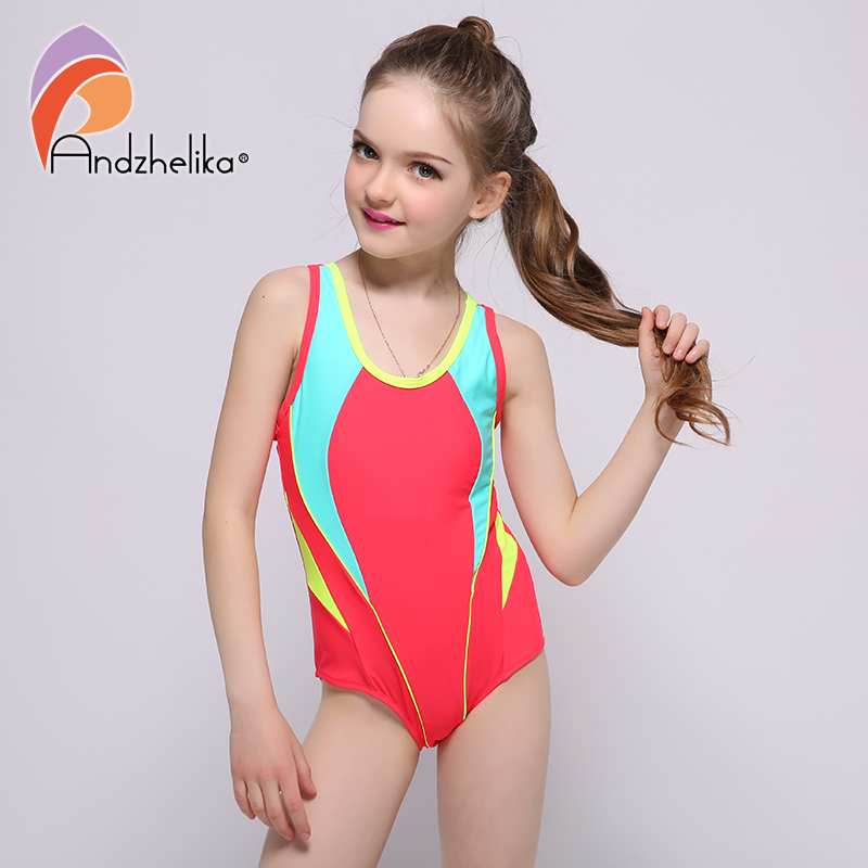 Andzhelika 2018 New Children's Swimwear One Piece Solid Patchwork Bodysuit Children Beachwear Sports Swim Suit Bathing Suit