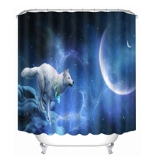 3D Pattern Shower Curtains Wolf under the Blue Sky Bathroom Curtain Waterproof Thickened Bath Curtain Customizable finding the blue sky
