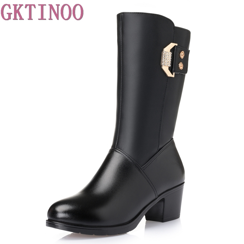 GKTINOO 2018 new genuine leather women's winter boots thick wool&fur lining warm snow boots women shoes plus size 35-43
