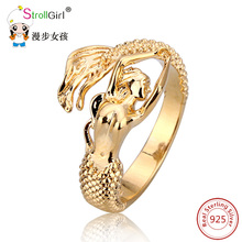 2017 New Arrival Authentic 925 Sterling Silver Mermaid Gold color Adjustable Open Ring Women Wedding silver ring Jewelry Gifts