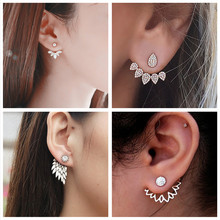 H23 New Imitation Pearl Heart Crystal Flower Leaf Angel Wings Geometry Stud Earrings For Women Statement Ear Jewelry Wholesale(China)