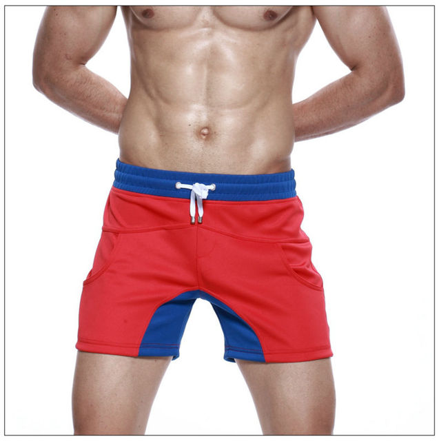 3e569de4e141 New design Men s red blue patchwork sports shorts mens thick gym shorts  polyester running shorts male active wear fitness boxers