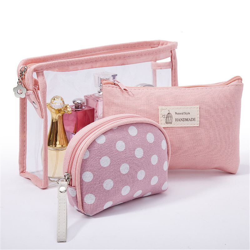 New Travel Polka Dot Women's Cosmetic Bag Transparent Wash Bag Pouch Hot Sale Three-piece Suit Foldable Travel Storage Bags