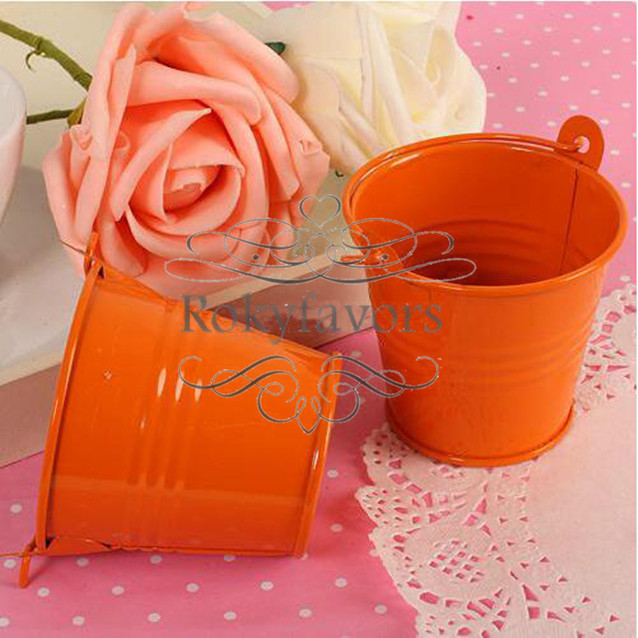 Free Shipping 100pcs Orange Lovely Mini Tin Buckets Favor Candy