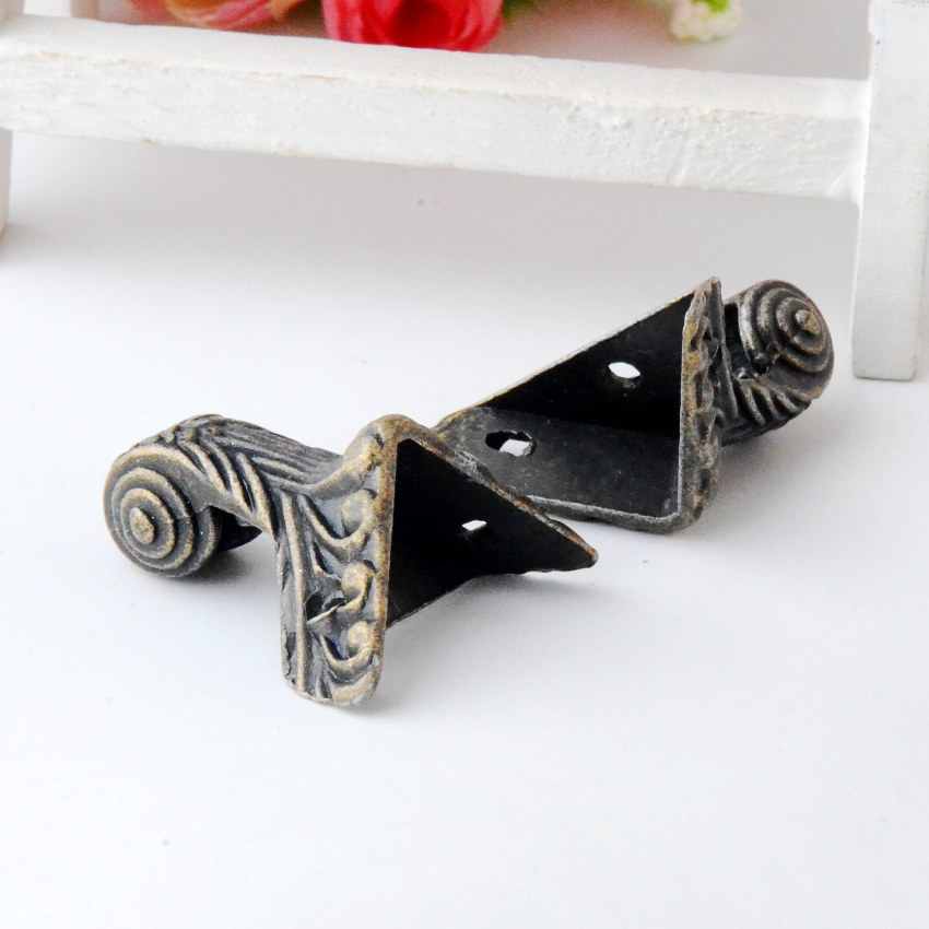 Free shipping 5Pcs Antique Bronze Jewelry Gift Box Wood Case Decorative Feet Leg Corner Protector 3.7x2.9cm J2834