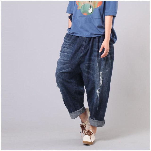 Women Plus Size Elastic Waist Scratched Bleached Denim Harem Pants Ladies Loose Jeans Hole Ripped Big Size Denim Trousers 2017