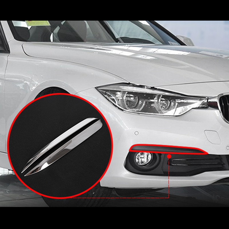 ABS Chrome Front Fog Lamp Foglamp Stripe For BMW 3 Series GT F34 2013-2017